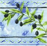 OL 020 - ubrousek 33x33 - olivy na modrém