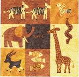 ET 016 - ubrousek 33x33 - mix etno zvířátek