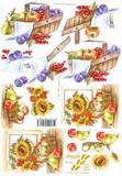 3D papír č.14 - koš s ovocem+slunečnice