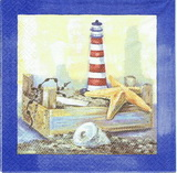 MO 009 - ubrousek 33x33 - maják v modrém rámu