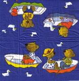 PK 023 - kapesníček 21x21 - medvídek na loďce