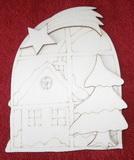 3D výřez okno s domkem a hvězdou v.14,5x12cm