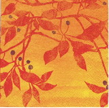 OS 041 - ubrousek 33x33 - červené lístky na oranžovém