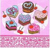 KM 070 - ubrousek 33x33 - růžové cukrovinky