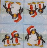 DE 183 - ubrousek na decoupage 33x33 - tučňáci