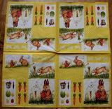 VEL 004 - ubrousek 33x33 - zajíčci na žlutém