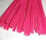 Plyšový drátek 0,8cm/30cm tmavší růžová