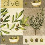 OL 037 - ubrousek 33x33 - olive na hnědém