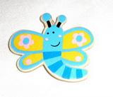 BP - motýlek modro-růžový dřevěný