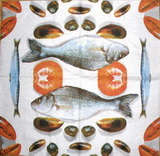 KM 077 PPD - ubrousek 33x33 - ryby+rajče