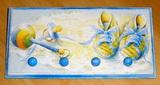 Věšák 4 úchyty - modré botky
