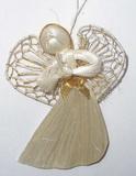 Anděl sisál se zlatou mašlí v.6,5cm