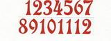 Čísla na hodiny nalepovací-ozdobná v.1,9cm ČERVENÁ