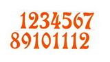 Čísla na hodiny nalepovací-ozdobná v.1,9cm ORANŽ