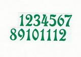 Čísla na hodiny nalepovací-ozdobná v.1,9cm ZELENÁ