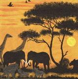 ET 029 - ubrousek 33x33 - žirafa,slon pod stromem