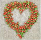 PO 074 - ubrousek 33x33 - šípkové srdce