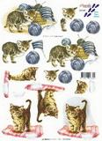 3D papír - kočička s klubíčkem