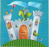 DE 279 - ubrousek 33x33 -  modrý hrad