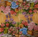 ZA 147-ubrousek 33x33-květiny+konvička