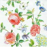 KV 053  Ihr- ubrousek 33x33 - květinky mix na bílém