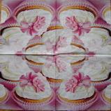 KM 023 - ubrousek 33x33 -růžové košíčky