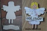 *Závěsná dekorace anděl strážný - v.16x14cm