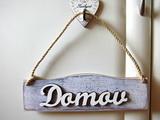 Cedulka Domov - levandulovo-bílá patina
