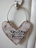 Cedule srdce Sladký domov 18x18cm- hnědo-bílá patina