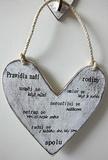Cedule srdce Pravidla... 18x18cm-hnědo-bílá patina