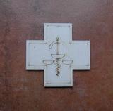 2D výřez kříž k lékárničce vel.cca 8x8cm-s motivem