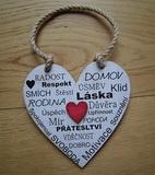 Cedulka Srdce Radost,Domov vel. 14x14cm, červené srdce