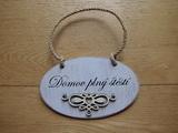 Cedulka Domov plný štěstí - 16x10cm ovál,hnědo-bílá pat.+ornament srdce