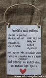 Cedulka Pravidla rodiny... 14x20m-hnědo-bílá