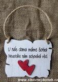 Cedulka šotek... cca 14x11cm -hnědo-bílá patina,červené srdce