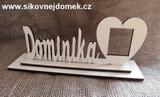 Nápis Dominika velikost 6,5x13cm+podložka+rám foto