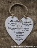 Cedulka srdce Pravidla domácnosti 14x14cm- hnědo-bílá pat.1srd.