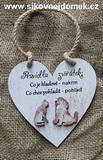 Cedulka srdce Pravidla zvířátek 14x14cm- hnědo-bílá pat.