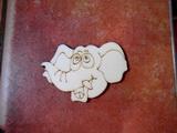 2D výřez na špejli slon č.1-v.4,5x6,3cm