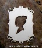 2D výřez rámeček ozdobný s nevěstou svat.na zadní opěrku židle -v.15x10,6cm