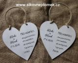 Svatební srdce dekor 18x18cm Milá maminko.. - hnědo-bílá patina-CENA ZA KS.