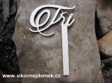 2D výřez svatební zápich-číslo 3 - v.7,2x10cm+ držátko 1,3x10cm