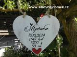 Srdce dekor 20x20cm se jménem.. - hnědo-bílá pat...