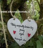 Cedulka srdce Nikdy neopouštěj... 14x14cm-hnědo bílá patina