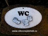 Cedulka ovál WC 14x8cm - hnědo-bílá+výřezy