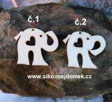 2D výřez slon s dírkou+srdíčko,chob.dolu -v.5x6cm -č.2