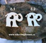 2D výřez slon bez dírky+srdíčko,chob.dolu -v.5x6cm -č.2