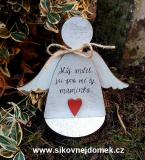 3D anděl Můj anděl č.2+podložka...  v.14x17cm