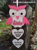 3D sova jméno narození růžová barva