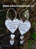 Svatební srdce dekor+srdíčka 14x14cm